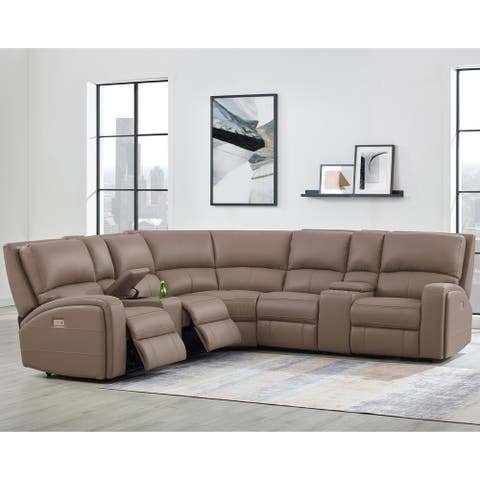 Melo Taupe Leather Power Reclining Sectional Sofa with Power Headrests