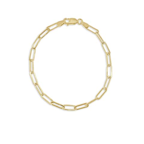 Gold Link Chain Bracelet 14K Gold Made in Italy 3.4mm