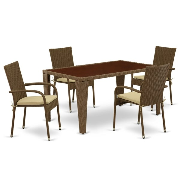 Rectangle Medium Patio Table and Outdoor Chairs with Brown Color PE Wicker (Number of Chairs Option)