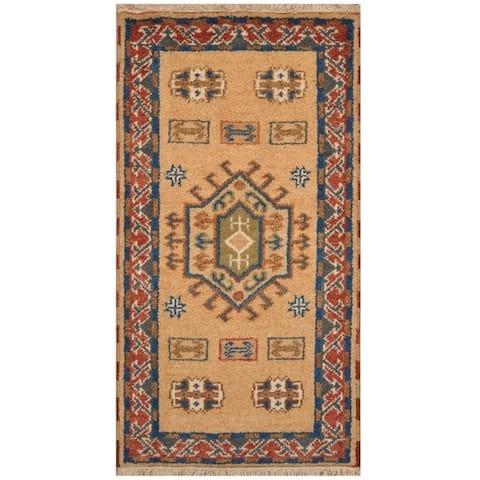 Handmade One-of-a-Kind Kazak Wool Rug (India) - 2'2 x 4'1