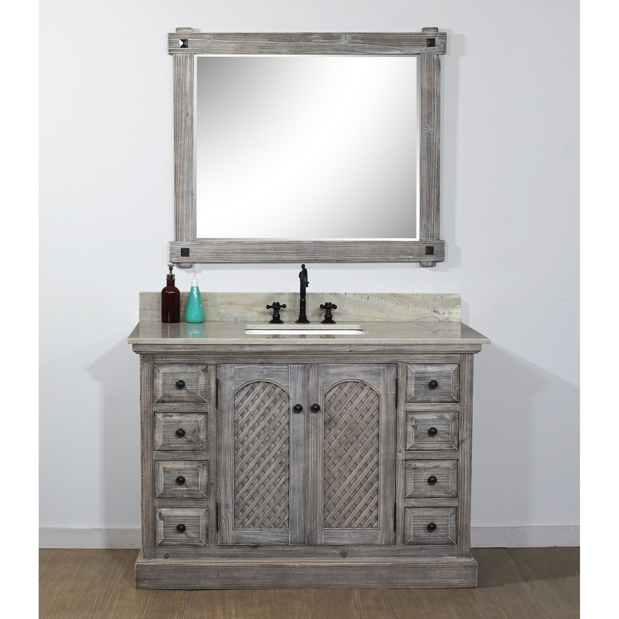 Rustic Style 48 Inch Single Sink Bathroom Vanity With Coastal Sand Marble Top No Faucet Overstock 30574947 Wk1948 Grey Driftwood Shuttered Door