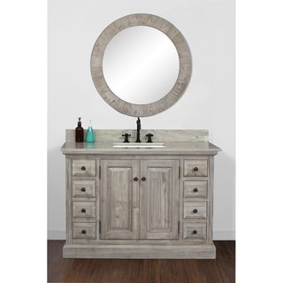 Rustic Style 48 inch Single Sink Bathroom Vanity with Coastal Sand Marble Top-No Faucet