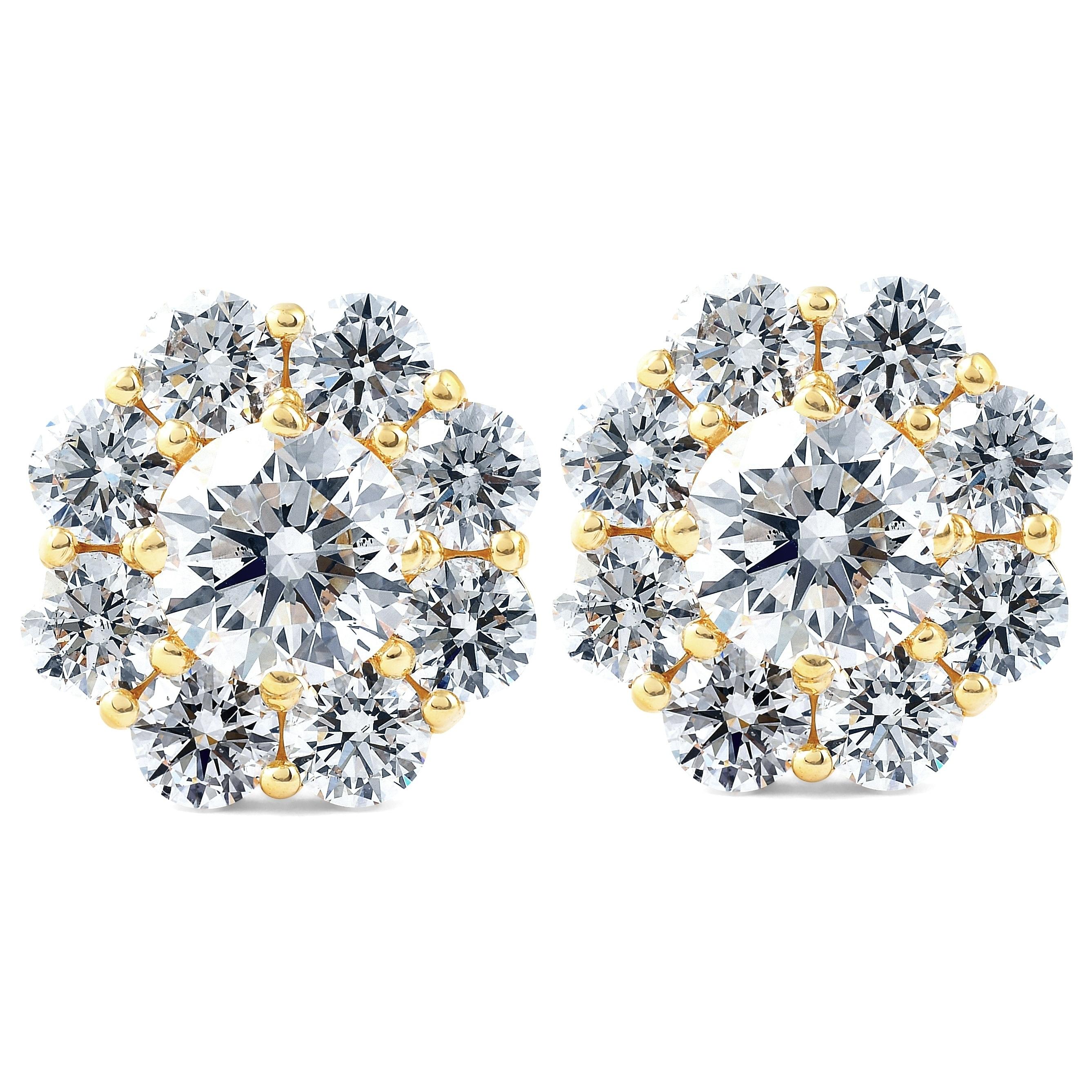 3.50 Ct Cushion Cut Earrings Studs Real 14K Yellow Gold Brilliant Screw Back