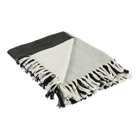 "DII Four Square Woven Throw, 50x60"" with 3"" Fringe, Black, 1 Piece"
