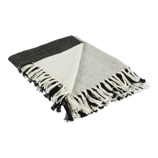 """DII Four Square Woven Throw, 50x60"""" with 3"""" Fringe, Black, 1 Piece. Opens flyout."""