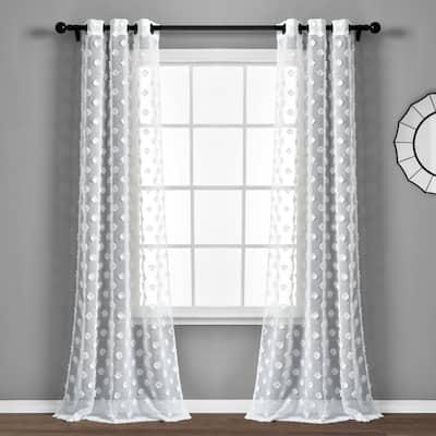 """Porch & Den Millcrest Textured Dot Sheer Curtain Panel Pair - 84"""" x 38"""""""