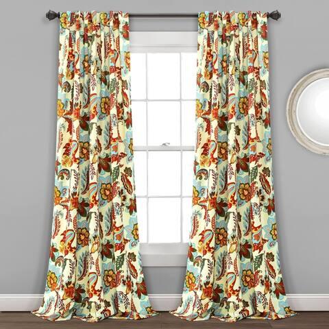 Lush Decor Zara Jacobean Room Darkening Window Curtain Panel Pair