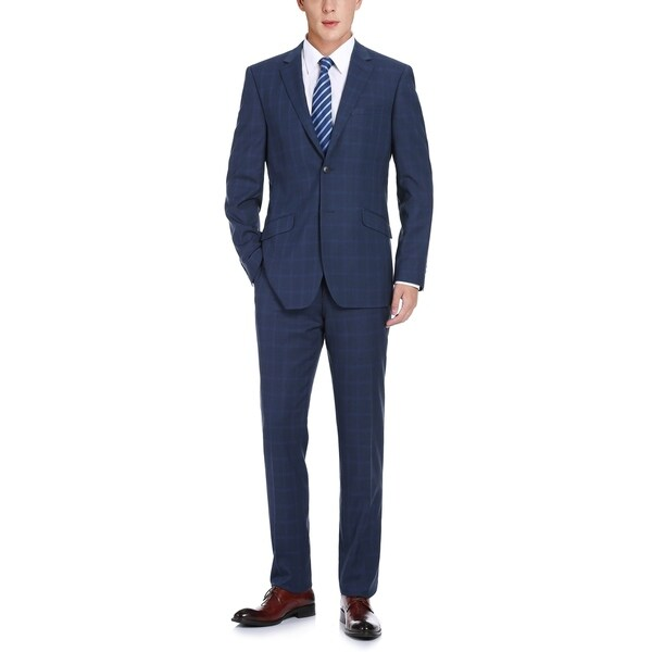 Mens Slim Fit Plaid Notch Lapel 2-Piece Suit