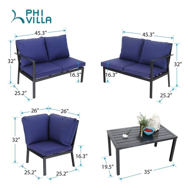 Include 1 Loveseat 1Coffee Table & 4 Free Pillow PHI VILLA 4 ...
