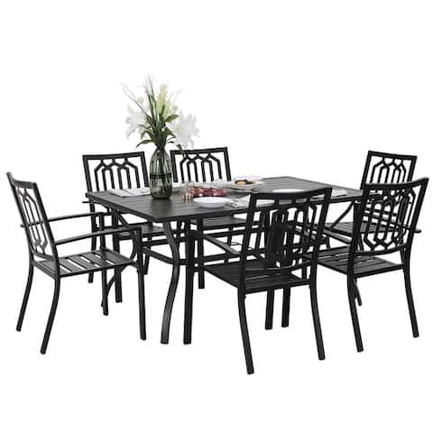 PHI VILLA 7 Piece Metal Outdoor Patio Dining Bistro Sets with Umbrella Hole