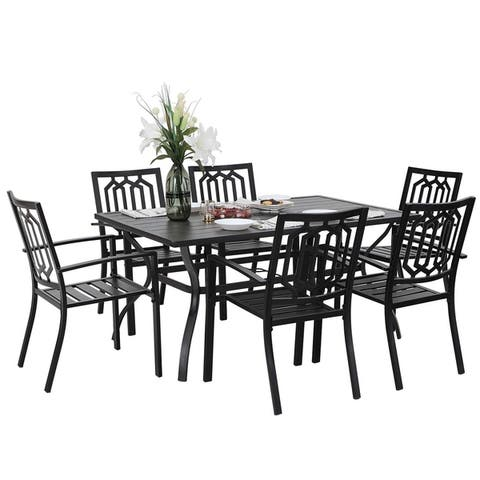 PHI VILLA 7 Piece Metal Outdoor Patio Dining Bistro Sets with Umbrella Hole