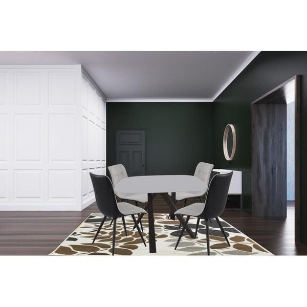 5-Pieces Contemporary Square Tempered Glass Dining Light Gray Set