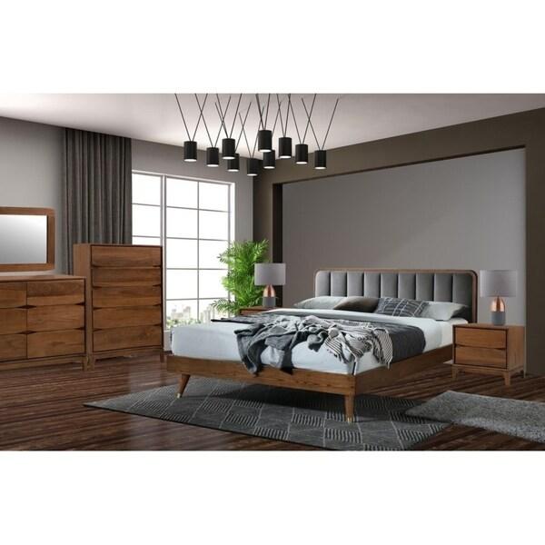 5 Pcs Mid Century Rosa Queen Upholstery Wood Bedroom In Walnut/Gray