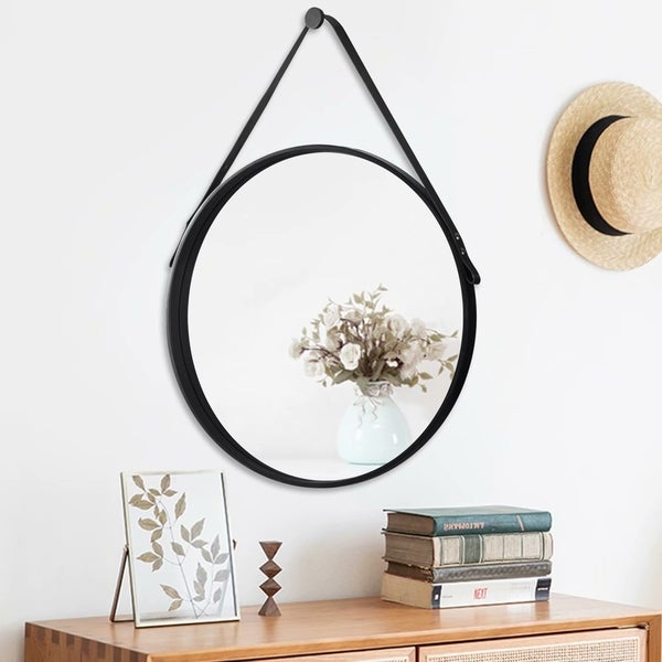 Modern Industrial Black Round Wall Mirror With Leather Strap