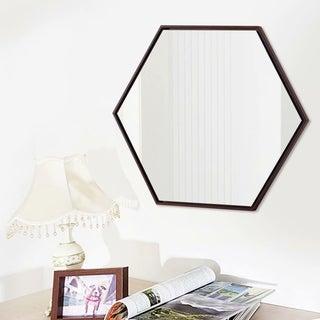 Modern Oak Hexagon Decorative Wall-Mounted Vanity Mirror - 23.62''x20.47''