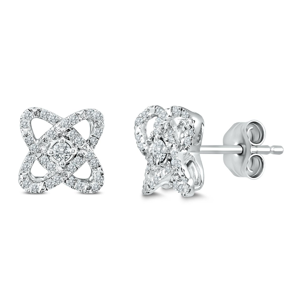 1//2 Carat TW Round Solitaire Diamond Stud Earrings in .925 Sterling Silver