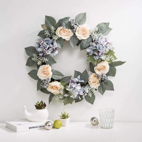 "Glitzhome 22""D Artificial Hydrangea Rose Wreath Set"