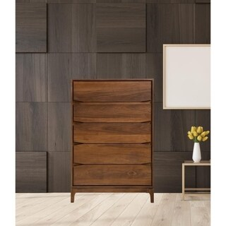Link to Mid Century Chest 5 Drawer Solid Wood In Walnut Similar Items in Bedroom Furniture