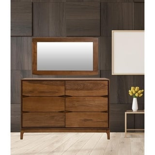 Mid Century With Dresser 6 Drawer Solid Wood In Walnut