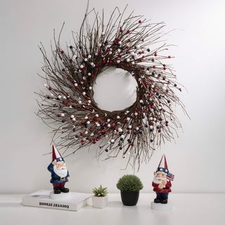 "Glitzhome 24""D Artificial Patriotic RED/White/Blue Berry Wreath"