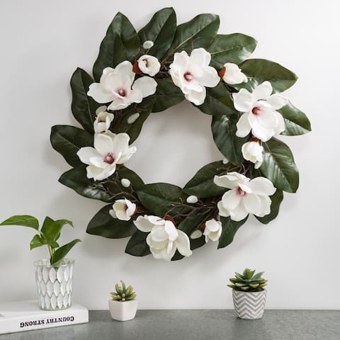 "Glitzhome 24""D Artificial Magnolia Wreath Set"