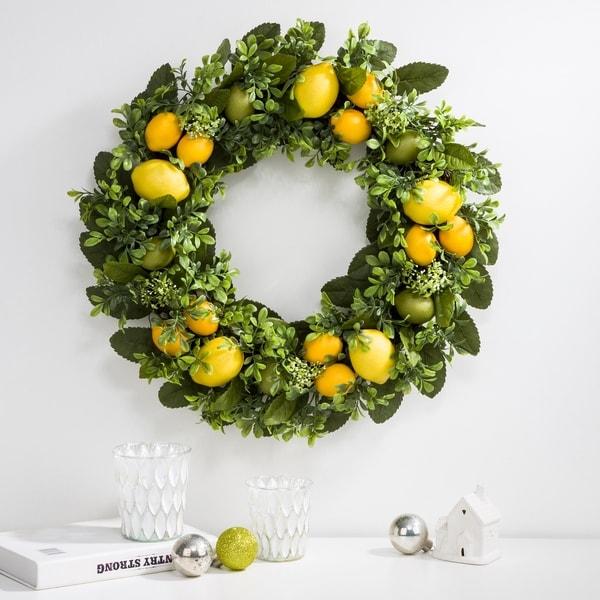 "Glitzhome 22""D Artificial Greenery Lemon Wreath Set. Opens flyout."