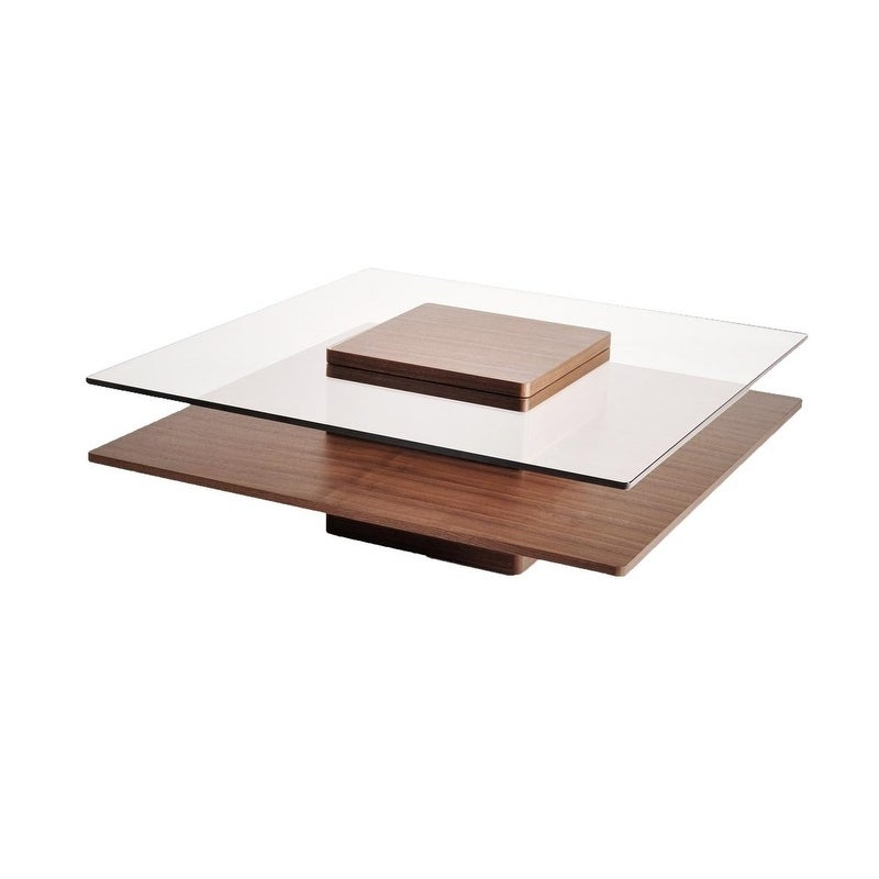 Coffee Table Walnut Wood Gl In Brown