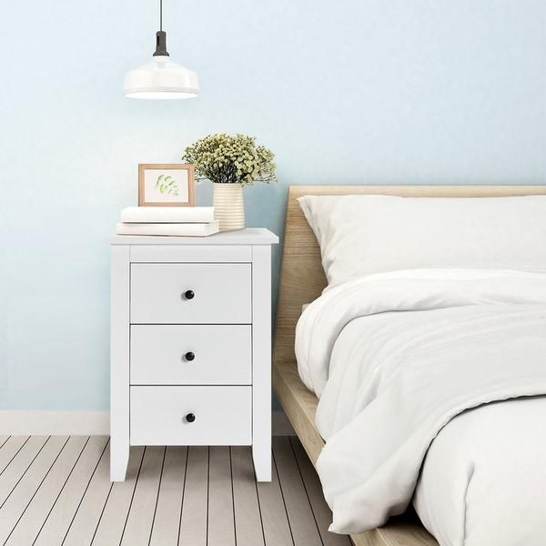 Bedroom 3-Drawer Nightstand Beside Table Modern Storage