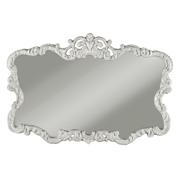 Traditional Ornate Shaped Wall Mirror with Crowned Top, White and Silver