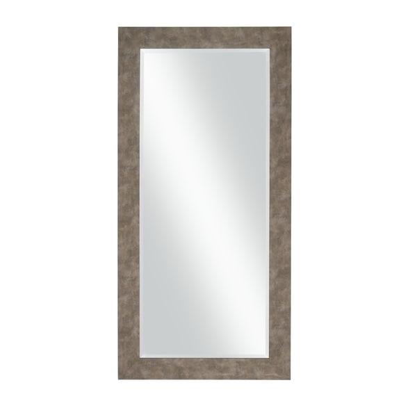 Stylish Rectangular Polystyrene Framed Leaner Mirror, Distressed Iron