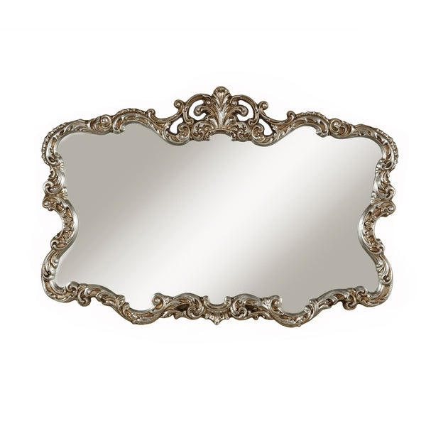 Traditional Ornate Shaped Wall Mirror with Crowned Top, Antique Silver