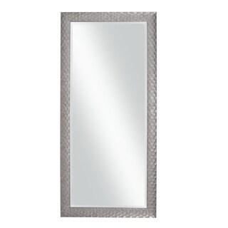 Stylish Rectangular Polystyrene Framed Leaner Mirror, Metallic Gray