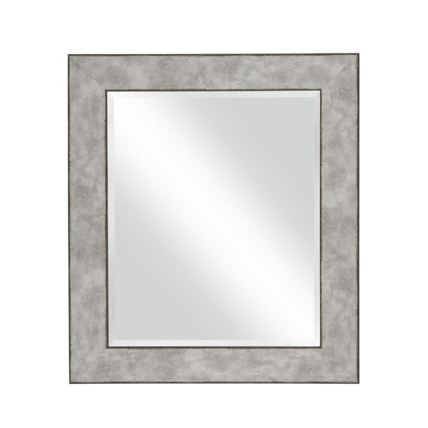 Polystyrene Wall Mirror with Hammered Ripple Design, Distressed Silver