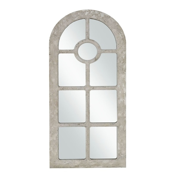 Arched Window Pane Wooden Frame Wall Mirror, Antique White and Silver