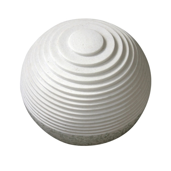 Contemporary Sandstone Polished Ball with Step Carved Lines, White