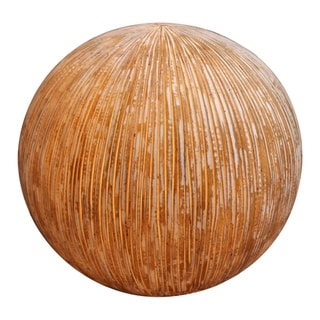 Contemporary Ribbed Finish Sandstone Decor Ball with Lights, Brown