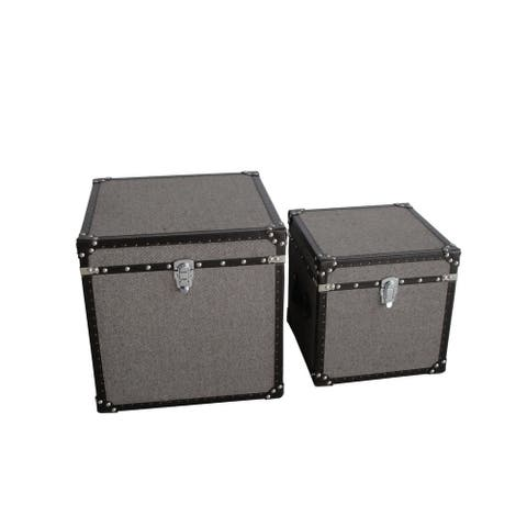Fabric Upholstered Square Trunk with Nailhead Details, Gray, Set of 2