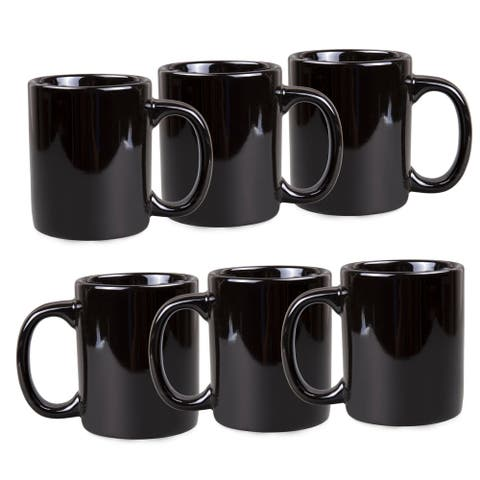 Creative Home Black Ceramic Coffee Mug Set (Set of 6)