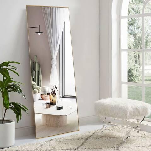 Rectangular Accent Metal Frame Full-Length Wall-Mounted Hanging Mirror - 63''x18''