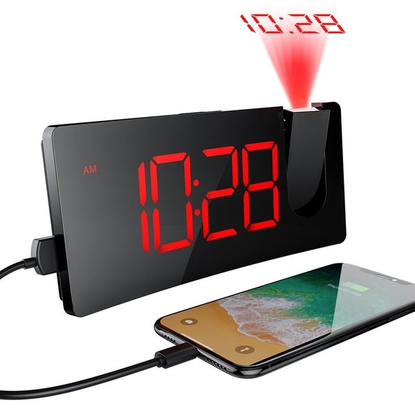 Projection Alarm Clock with 5'' LED Curved-Screen 3 Levels Brightness Digital Desk Clock with Snooze and USB Charging Port