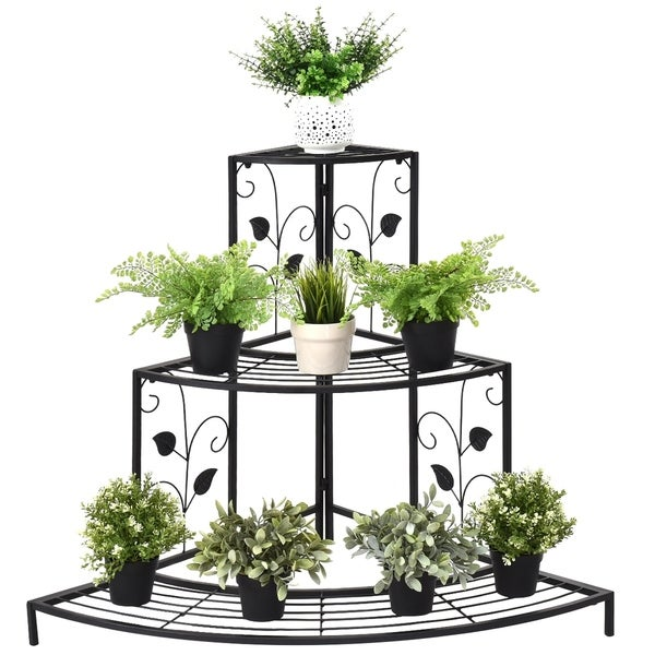 Kaivu 3-tier Black Metal Potted Plant Corner Shelf by Havenside Home. Opens flyout.