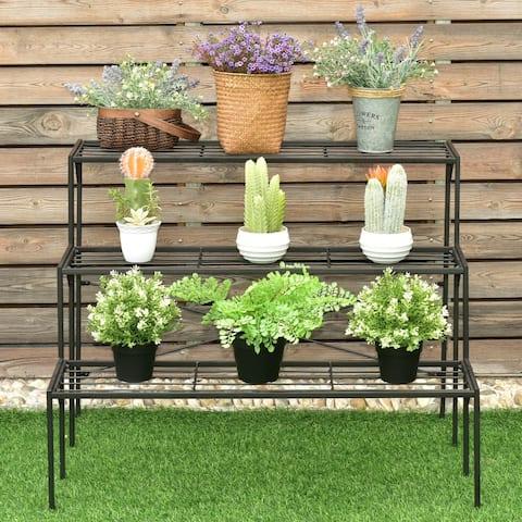 3-Tier Metal Flower Plant Shelf Stand Display Rack Black