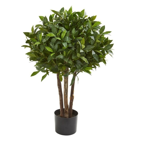 "Nearly Natural Home Decorative 37"" Bay Leaf Topiary Artificial Faux Tree - N/A"