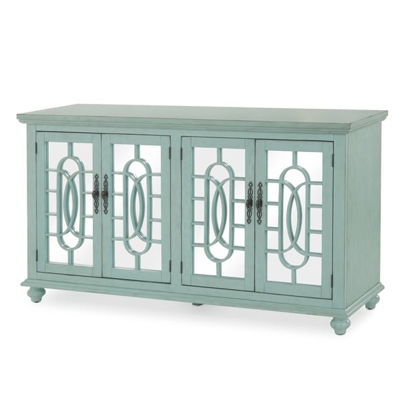 Trellis Front Wood and Glass TV stand with Cabinet Storage, Mint Green
