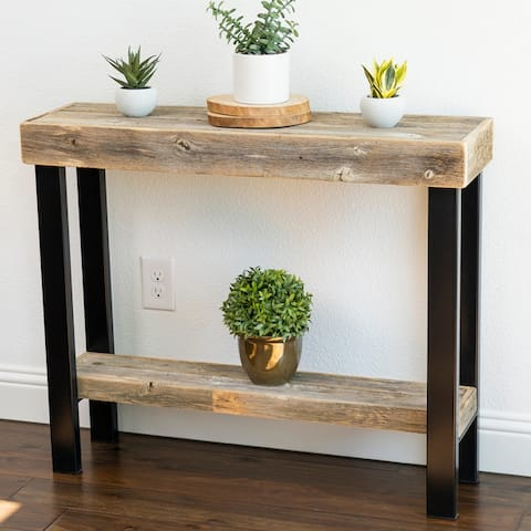 Roland Natural Wood Console Table with Industrial Metal Legs