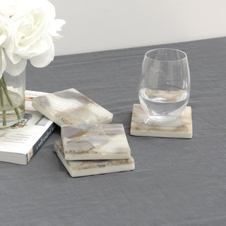 """Aurora Home Marble and Agate Coaster - Set of 4 - 3-7/8"""" L x 3-7/8"""" W x 5/8"""" H"""