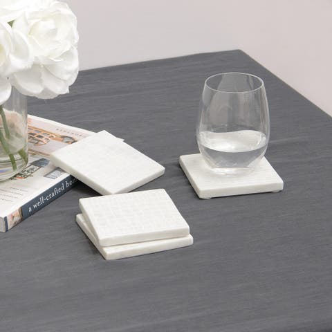 "Aurora Home White Croc Pattern Marble Coasters - Set of 4 - 3-7/8"" L x 3-7/8"" W x 3/8"" H"