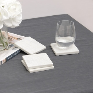 "Aurora Home White Croc Pattern Marble Coasters - Set of 4 - 3-7/8"" L x 3-7/8"" W x 3/8"" H"