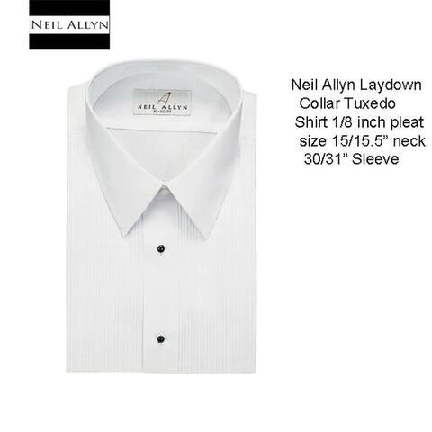 Men's Laydown Collar Tuxedo Shirt, Size 15/15.5 Neck 30/31 Sleeve
