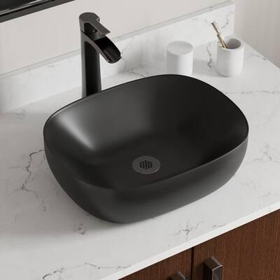 V410 Matte Black Porcelain Vessel Sink